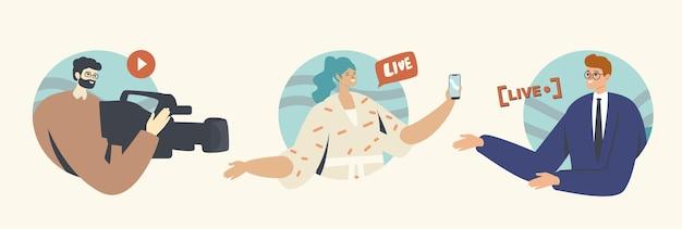 カメラマン、スマートフォンとアンカーマンのキャラクターを持つ女性とのライブストリームのコンセプト。ビデオまたはニュースのオンライン放送、ジャーナリズムまたはvloggingアクティビティ、ルポルタージュ。漫画の人々のベクトル図