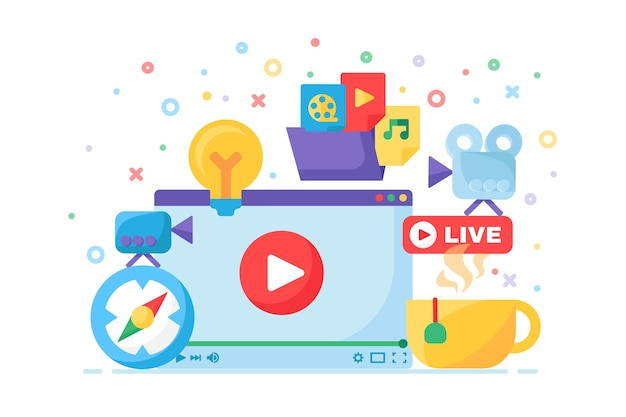 Live stream idea producing concept icon. online broadcast on laptop screen semi flat illustration. modern cover channel design. social multimedia podcast. vector isolated color drawing