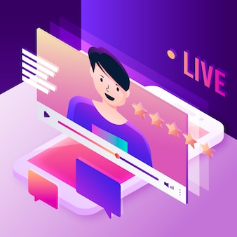 Live stream illustration concept with person