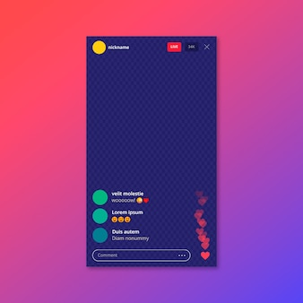 Live stream instagram app interface template
