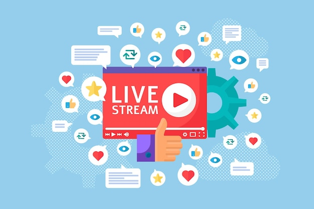 Live stream launch concept illustration. online broadcast idea flat icons. streaming feedback cartoon badges. social media banner. vector isolated color drawing