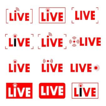 ライブストリーム。生放送。オンラインストリーミングアイコンのセット。ストリーミング、放送、オンラインストリーム用の赤い記号とボタン。リアルタイムのテレビ、ショー、映画、パフォーマンスのテンプレート。ベクター