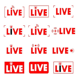Live stream. live broadcast. set of online streaming icons. red symbols and buttons for streaming, broadcasting, online stream. template for tv, shows, movies and performances in real time. vector