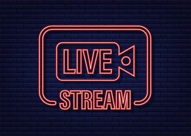 Логотип прямой трансляции. неоновая иконка. потоковый интерфейс. векторная иллюстрация штока.