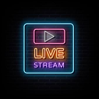 Live stream neon logo neon sign and symbol
