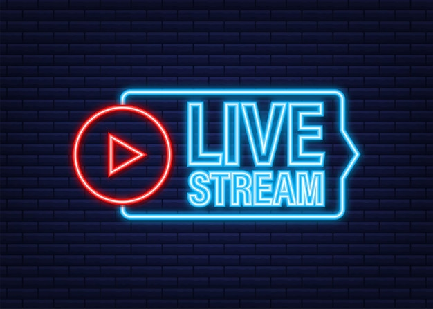 Live stream neon logo, news and tv or online broadcasting. vector stock illustration.