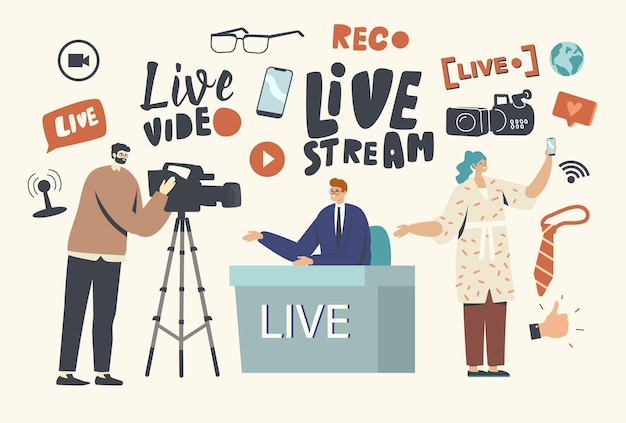 Live stream, news concept. videographer record anchorman conduct program. vlogger, reporter or journalist character sitting at desk make reportage, woman with phone. cartoon people vector illustration