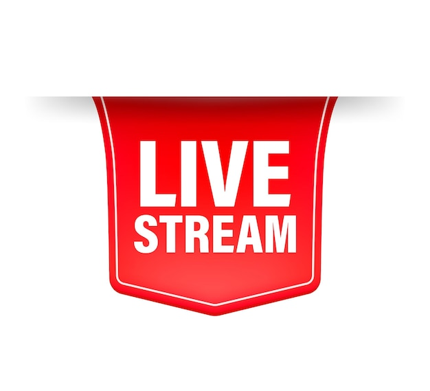 Live stream red ribbon in flat style