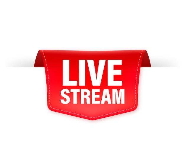 Live stream red ribbon isolated    illustration.