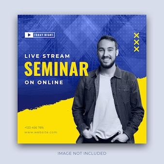 Live stream seminar advertising in square size for instagram post Premium Vector
