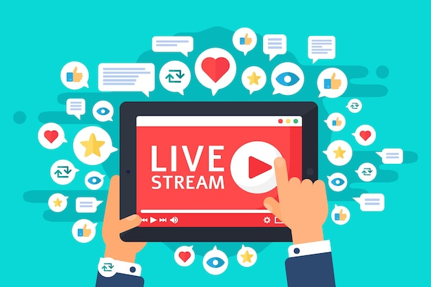 Live stream on tablet top view concept illustration. businessman watching online streaming. broadcast in real life. display in hands semi flat cartoon drawing. vector isolated color podcast