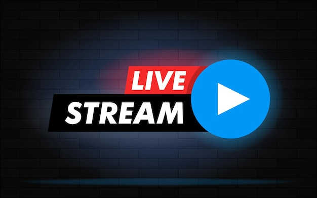 Live stream vector design element for websites or social media with play button. brick wall realistic background with neon light.