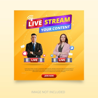 Live streaming banner template design with emoji icons