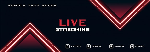 Live streaming banner with glowing neon lights line