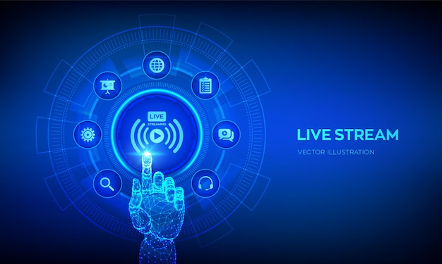 仮想画面でのライブストリーミングのコンセプト ウェビナー オンライン翻訳 インターネット会議 ウェブベースのセミナー 遠隔教育またはトレーニングのコンセプト デジタルインターフェースに触れるロボットの手