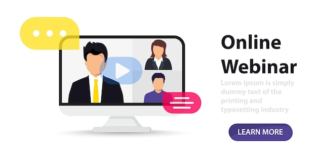 Live streaming distance and online education online webinar video conference