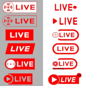 Live streaming icons. red symbols and buttons of live streaming