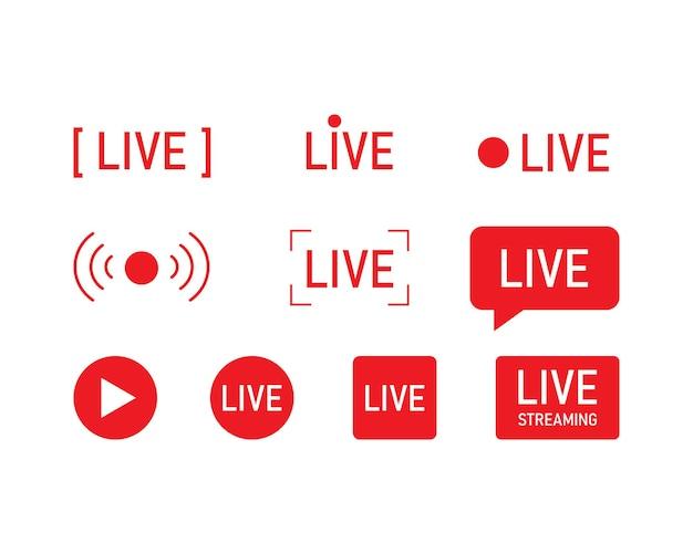 라이브 스트리밍 아이콘을 설정합니다. 웹 tv 및 온라인 방송 기호입니다. 벡터 eps 10