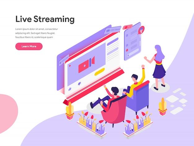Live streaming изометрические иллюстрация концепция