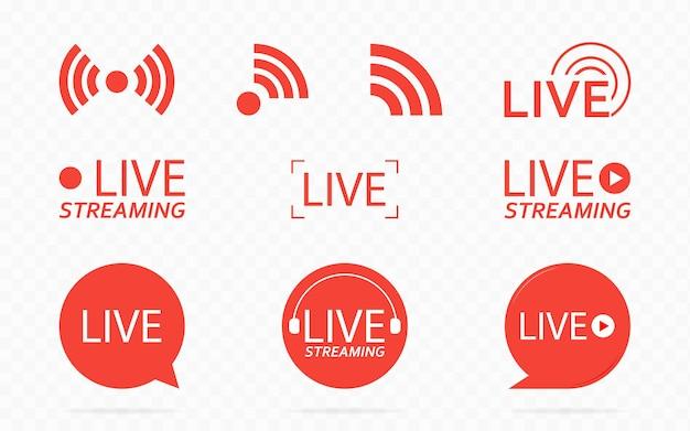 ニュースやテレビまたはオンライン放送用の再生ボタン付きのライブストリーミングロゴ付きデザイン要素
