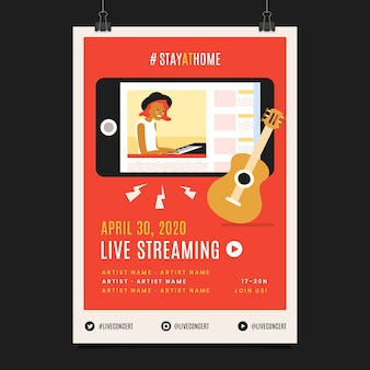 Live streaming music concert woman playing