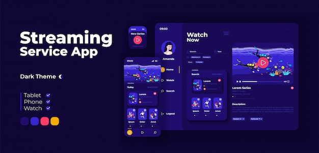 Live streaming service app screen adaptive design template. video blogging application night mode interface with flat characters. public broadcasting smartphone, tablet, smart watch cartoon ui.