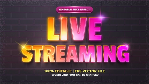 라이브 스트리밍 빛나는 광선 3d 편집 가능한 텍스트 효과