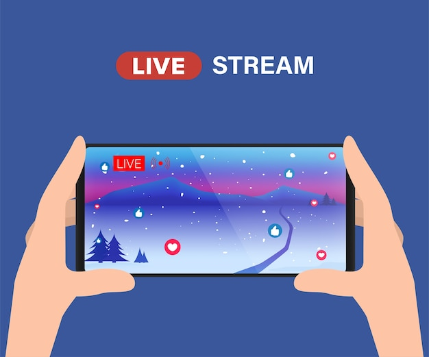 Live streaming video player on social media.