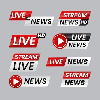Live streams news banners concept