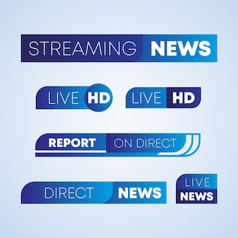 Live streams news banners design