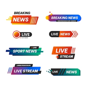 Live streams news banners set