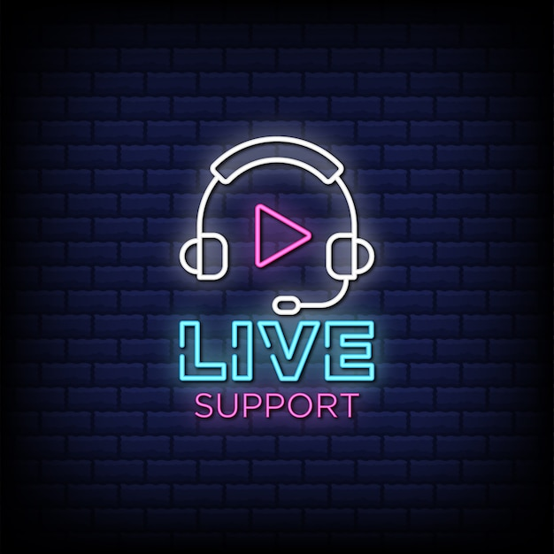 Live support neon signs style text