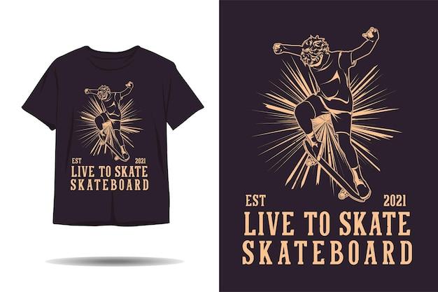 스케이트보드 실루엣 티셔츠 디자인에 라이브