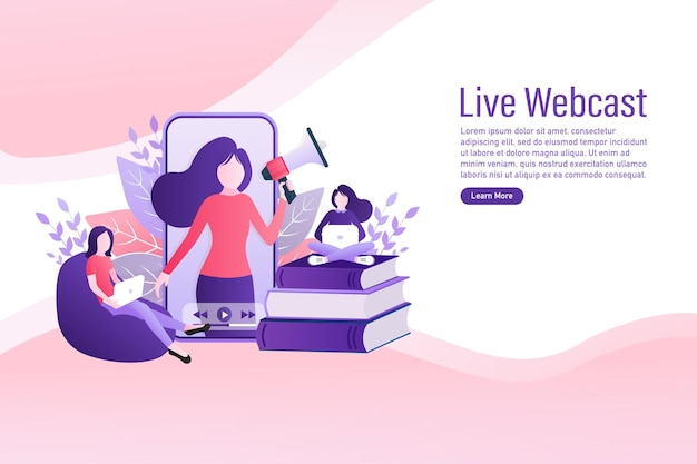 Live webcast in flat style with people. listen to podcast. flat illustration. vector illustration.