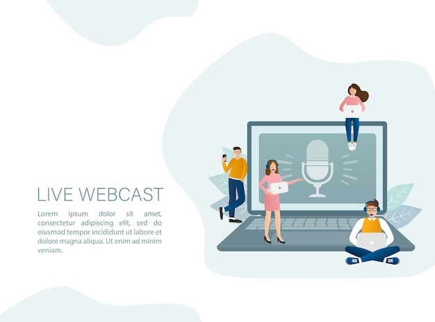 Live webcast illustration in flat style with people.
