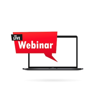Live webinar banner. watching on laptop online streaming, video training, seminar. vector on isolated white background. eps 10.