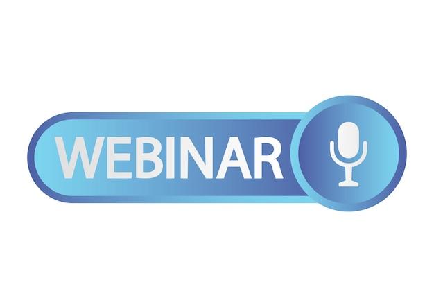 라이브 웨비나 버튼. 온라인 과정, 원격 교육, 비디오 강의, 인터넷 그룹 회의, 교육 테스트를 위한 파란색 아이콘입니다. 마이크, 방송 아이콘이 있는 라이브 웨비나