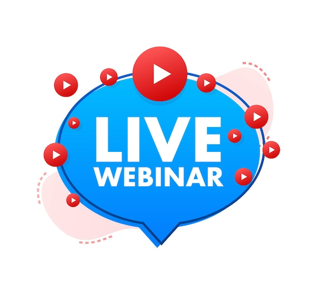 Live webinar button, icon, stamp, logo. label isolated on white background. vector illustration.