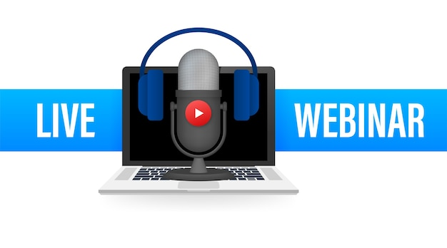 Иллюстрация кнопки веб-семинара в реальном времени