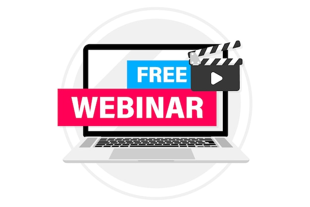 Live webinar button, in laptop. webinar, seminar, online distant education, video lecture, conference, work from home. live streaming flat design. free webinar banner and clapper boards play button