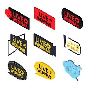 온라인 코스 원격 교육 비디오 강의를 위한 라이브 웨비나 버튼 아이소메트릭 템플릿