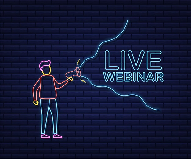 Live webinar, megaphone banner. can be used for business concept. stock illustration. neon style.