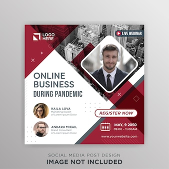 Live webinar online business during pandemic social media post template
