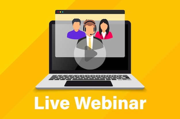 Live webinar. online conference. group of coworkers taking part in video conference. online technology distance communication. study education. team meeting. online remote work internet learning
