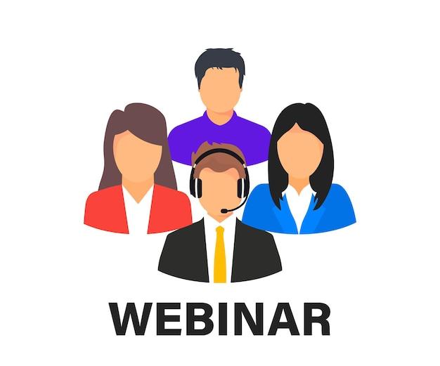 라이브 웨비나. 온라인 회의. 화상 회의에 참여하는 동료 그룹입니다. 온라인 기술 원격 통신. 교육을 공부합니다. 팀 회의. 온라인 원격근무 인터넷 학습