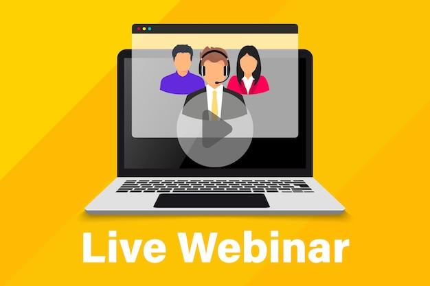 ライブウェビナー。オンライン会議。ビデオ会議に参加している同僚のグループ。オンライン技術の距離通信。教育を学ぶ。チーム会議。オンラインリモートワークインターネット学習
