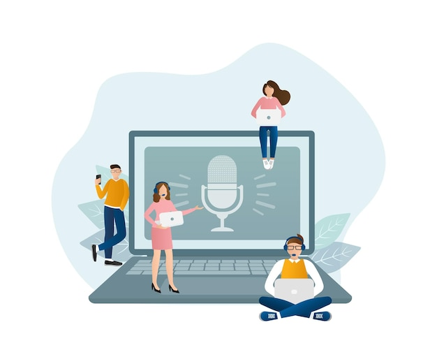 Live webinar people, great design for any purposes. web design. vector illustration.