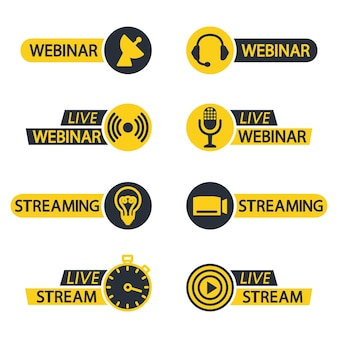 Live webinar and stream button icons flat icons for video conference webinar video chats ect