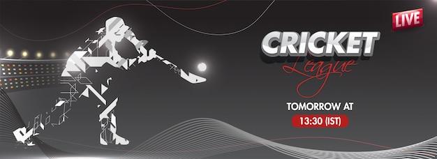 Live world cricket league header or banner template