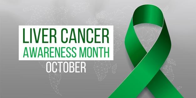 Концепция месяца осведомленности рака печени. баннер с изумрудно-зеленой лентой и текстом. векторная иллюстрация.